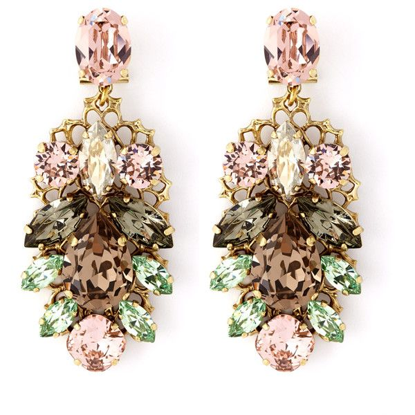 Anton Heunis Pink And Green Crystal Leaf Motif Drop Earrings by None, via Polyvore jewelry