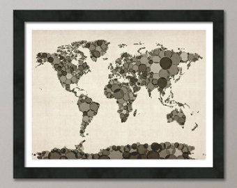 Music Notes Map of the World Map Art Print 82 by artPause on Etsy