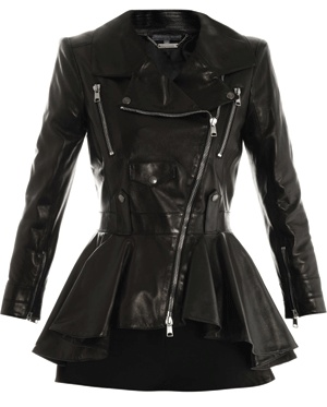 ALEXANDER MCQUEEN • Waterfall peplum leather jacket- Okay who wants to buy this for me?!