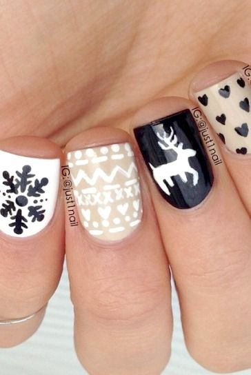 Winter nail art...Reminds me of Scandinavia!