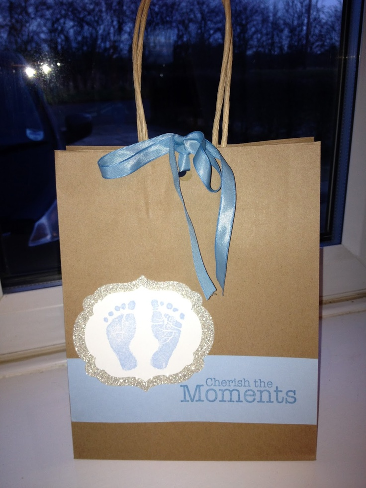 Decorated gift bag using Baby Prints stamp set from Stampin' Up!
