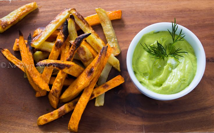 Crispy Sweet Potato Fries with an Avocado Dill Dip.