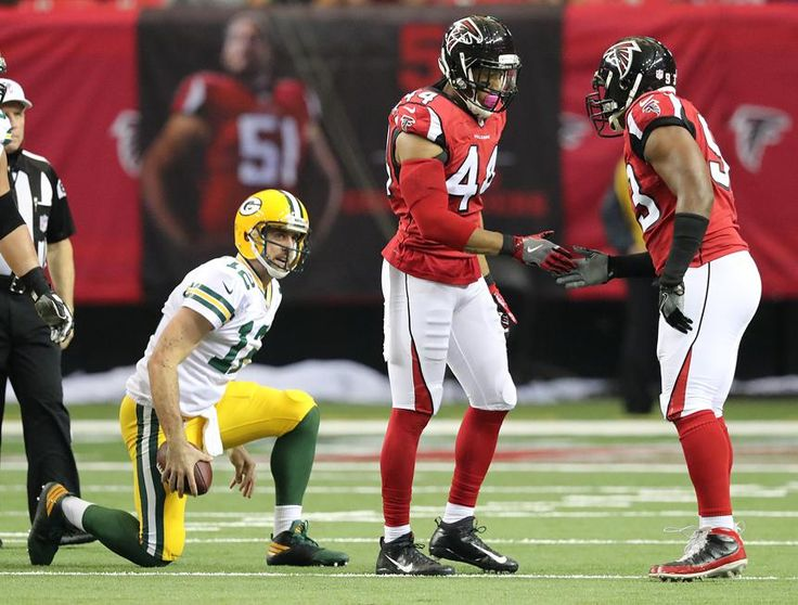 Packers vs. Falcons:    October 30, 2016  -  33-32, Falcons  -       October 30, 2016 ATLANTA: Falcons Vic Beasley Jr. celebrates sacking Packers Aaron Rodgers with Dwight Freeney during the first half in an NFL football game on Sunday, Oct. 30, 2016, in Atlanta. Curtis Compton /ccompton@ajc.com