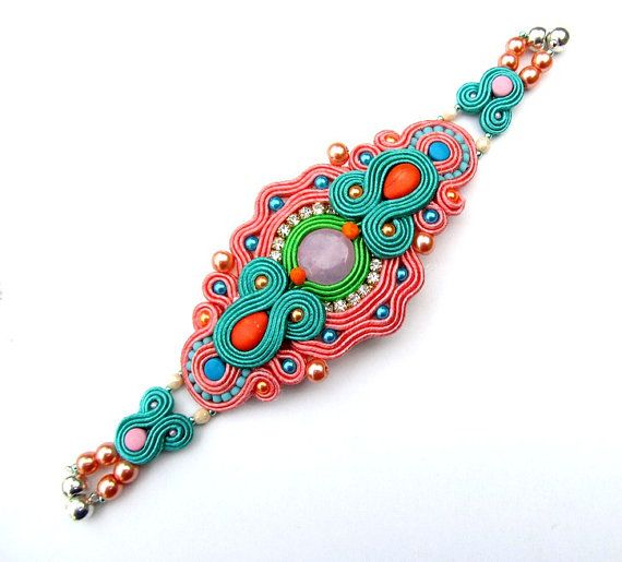 Pastel Soutache Bracelet with Cup Chain Pearls por IncrediblesTN