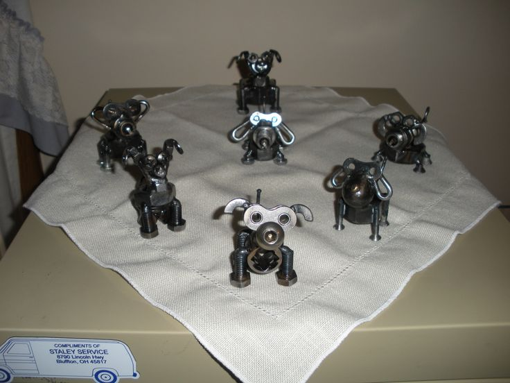 Dogs Made From Nuts Bolts Washers And Spark Plugs