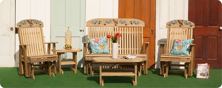 Outdoor Wood Furniture | LuxCraft | Swiss Country Lawn & Crafts | Sugarcreek OH | Classic Highback Hummingbird Wood Glider, Coffee Table, and End Table