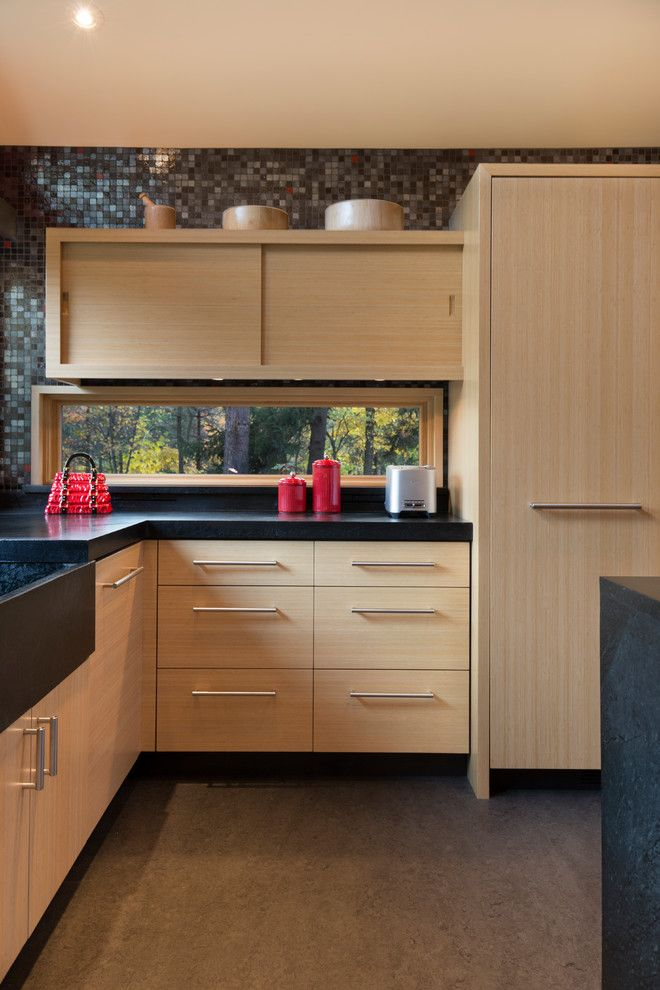 Bamboo cabinets and soapstone countertops with integral ...