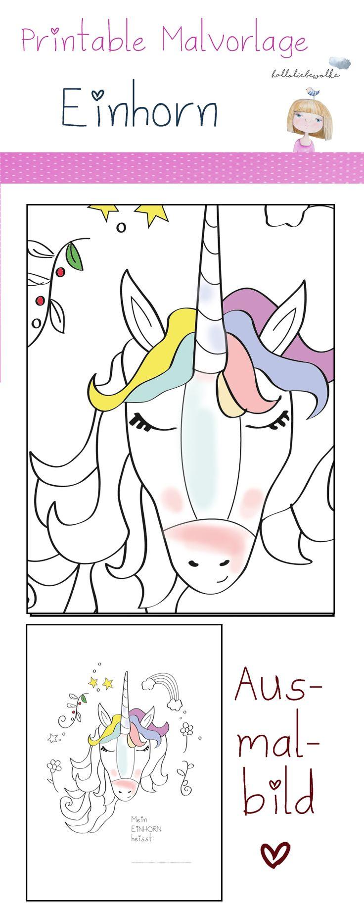 Einhorn Ausmalbild. Ein Printable zum freien Download für kleine Prinzessinnen, die eine Malvorlage ihres Lieblingstieres benötigen. ;)