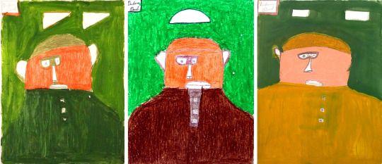 Paul Duhem, 29x39, techniques mixtes, triptyque de 3 portraits.  Paul Duhem, 29x39, mixed media, triptych of 3 portraits. #Duhem #Polysémie