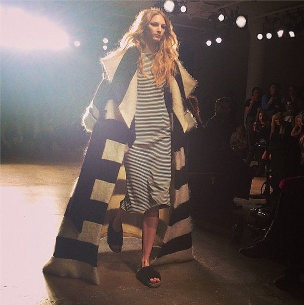 What's black and white and striped all over? This graphic look from the Houghton show. Source: Instagram user kerrybazaar