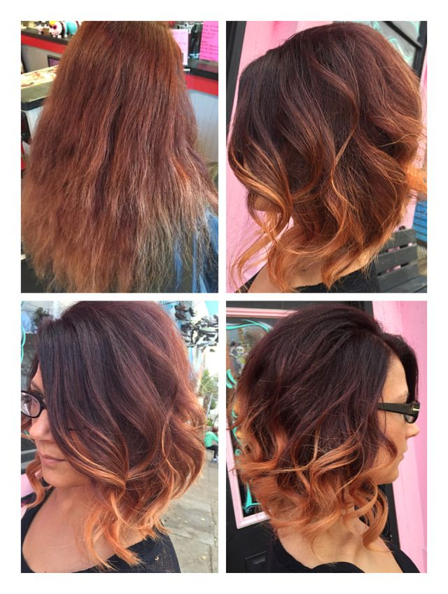 Dark Red Brown To Blonde Ombr Short Bob Beforeafter Hair