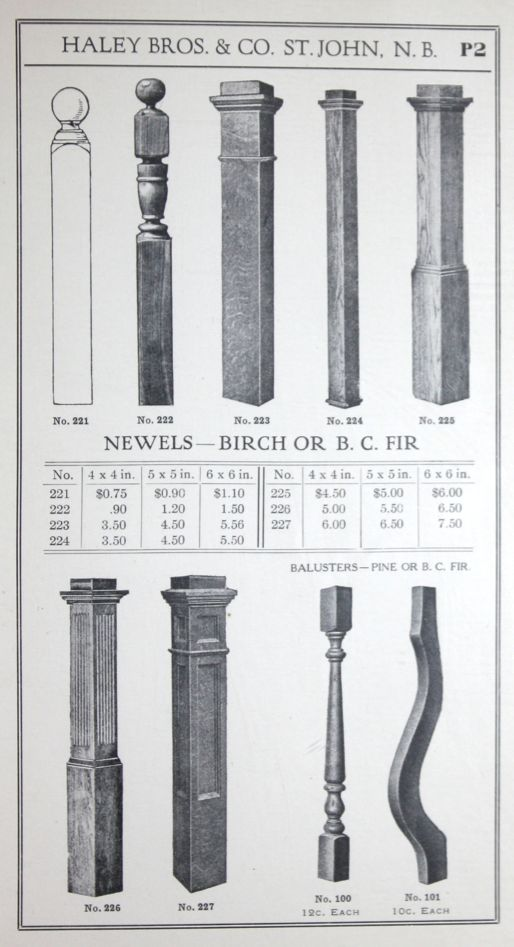 Newel posts from 1917 Haley Bros. millwork catalog.