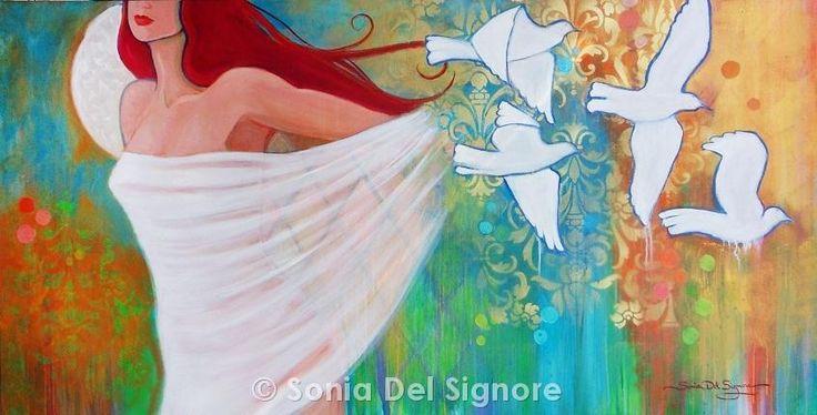 "Luna Sanctum by Sonia Del Signore 33"" x 66"" acrylics"