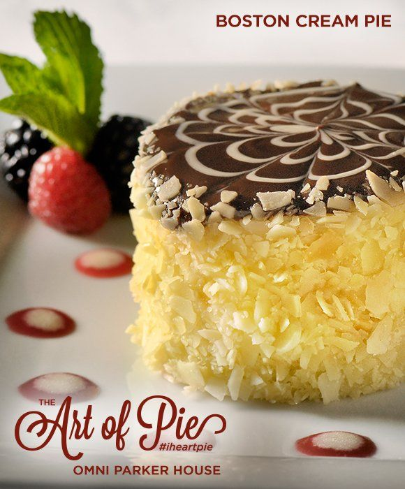 """The Art of Pie: Boston Cream Pie - The Boston Cream Pie is a timeless dessert that Boston's Parker House, now known as the Omni Parker House, holds close to its heart. It is an original culinary creation that has been served since the opening of the hotel. The recipe below was originally called the Parker House """"Chocolate Cream Pie"""", and was created and served at Parker's Restaurant from the opening of the hotel in October 1855."""