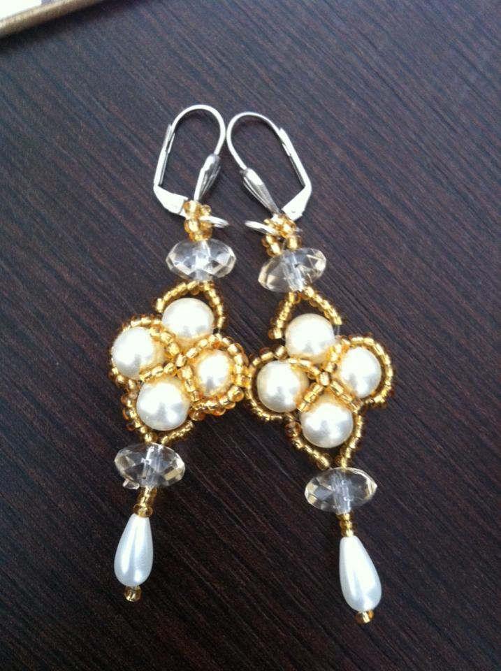 Beaded Earrings White and golden earrings Bridal earrings by CristinaMyCrochet on Etsy