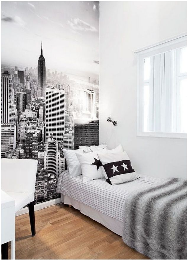 Very Small Room Add Depth With A City Wall Mural