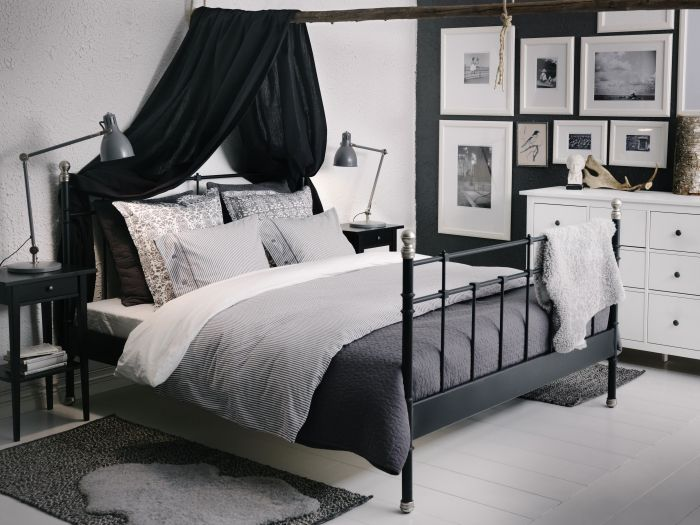 ikea svelvik black bed with hemnes bedside tables and alina dark grey bedspread with cushion covers