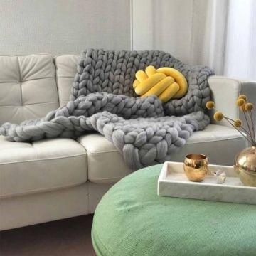 XL Merino Wolldecke Cosima Chunky Knit, Hellgrau   Shop Landhaus Look