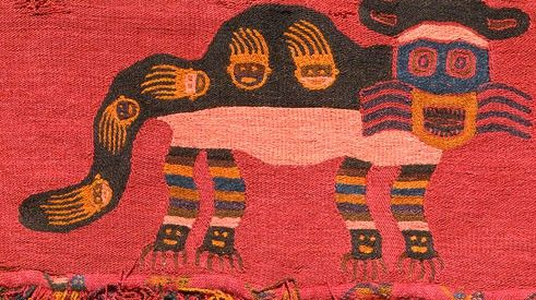 Border with pampas cats, Paracas textile, Peru