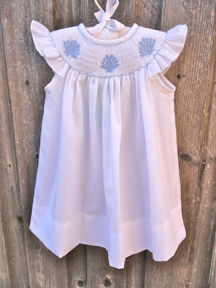 Seashell Smocked Dress with angel sleeves Childrens