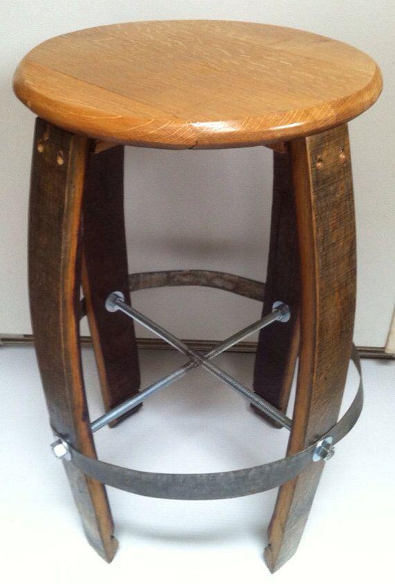 Set of 2 25 Tall Wine Oak Barrel Bar Stools by griggworks on Etsy, $310.00
