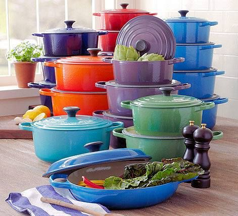 LE CREUSET- I have 3 pieces in cobalt but also love the aqua.