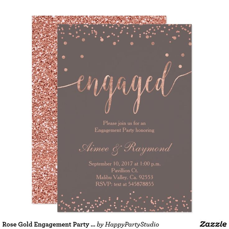 Rose Gold Engagement Party Invitation Card | Zazzle.com – Popular Engagement Party Invitations 2