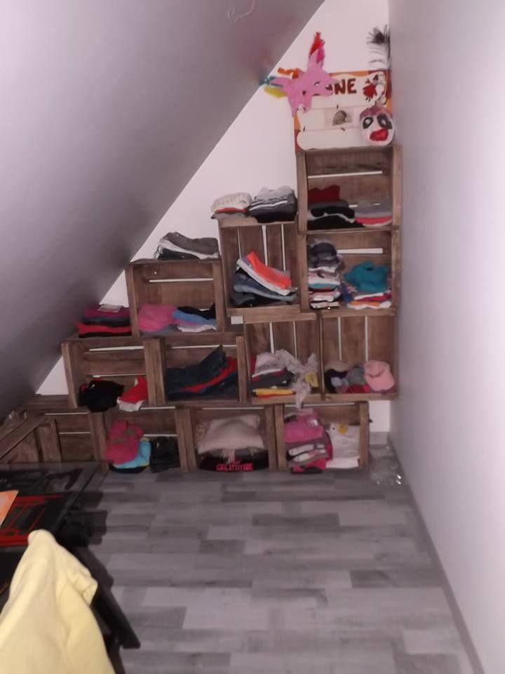 caisse en bois tag re sous pente modulable caisse. Black Bedroom Furniture Sets. Home Design Ideas
