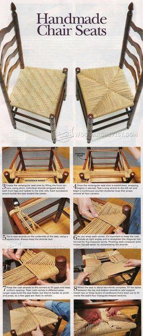Handmade Splint and Rush Seat - Woodworking Tips and Techniques | WoodArchivist.com #WoodworkingTips