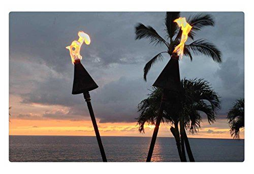 Rock Bull Doormat – Hawaiian Tiki Torches evening dusk time at Waimea Maui Hawaii, 23.6″x15.7″ |  http://landscapeandlighting.net