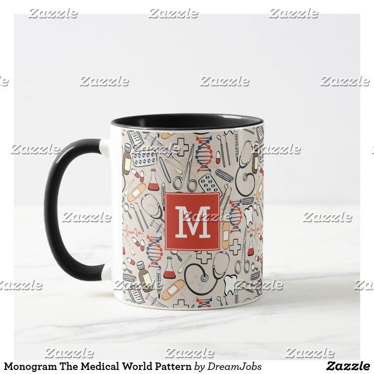 Monogram The Medical World Pattern. Regalos, Gifts. Producto disponible en tienda Zazzle. Tazón, desayuno, té, café. Product available in Zazzle store. Bowl, breakfast, tea, coffee. #taza #mug