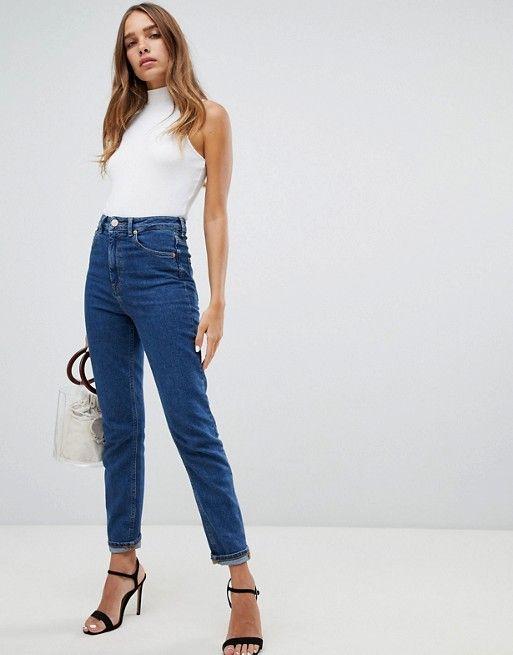 d4dfe6e3 ASOS DESIGN | ASOS DESIGN Recycled Farleigh high waist slim mom jeans in  flat blue