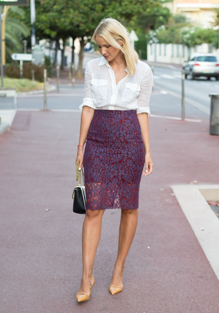 How to wear my purple lace pencil skirt
