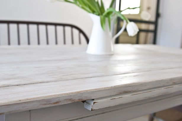 "How I refinished my kitchen table forever ago...think I might do this for my ""new"" TV stand too"