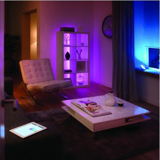 add multicoloured mood lighting anywhere in your home with philips hue led strips smart home. Black Bedroom Furniture Sets. Home Design Ideas