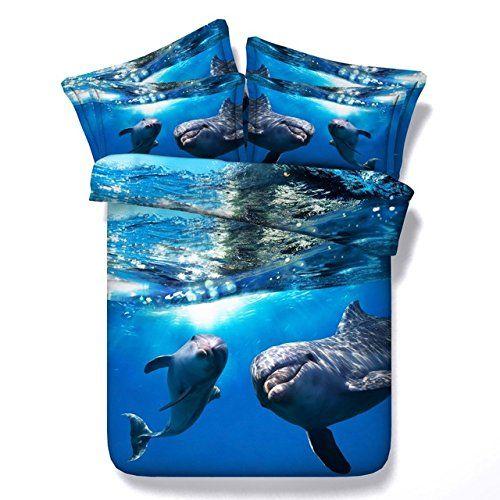 JF-080 Blue Deep Ocean Dolphin Drucken Sie 3D-kids Bettlaken Einzelbett twin full size Bett Set cal König Königin Daunendecken Abdeckungen