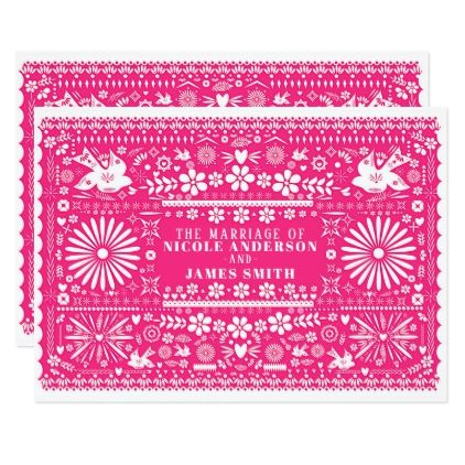 Mexican Picado Bright Hot Pink Wedding Marriage Card - invitations custom unique diy personalize occasions