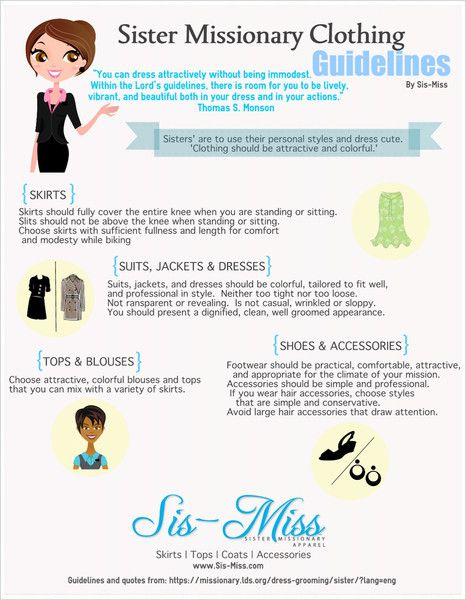 LDS Sister Missionary Clothing Guidelines Infographic.  Such a good website and blog!