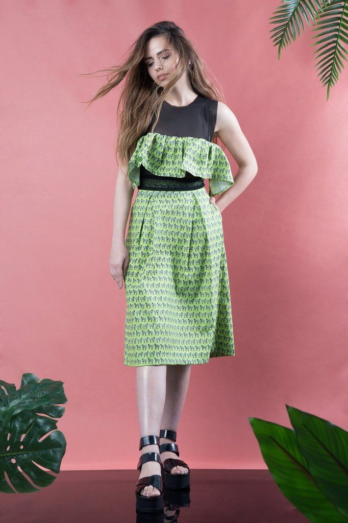 Green Zebras Pleated Skirt