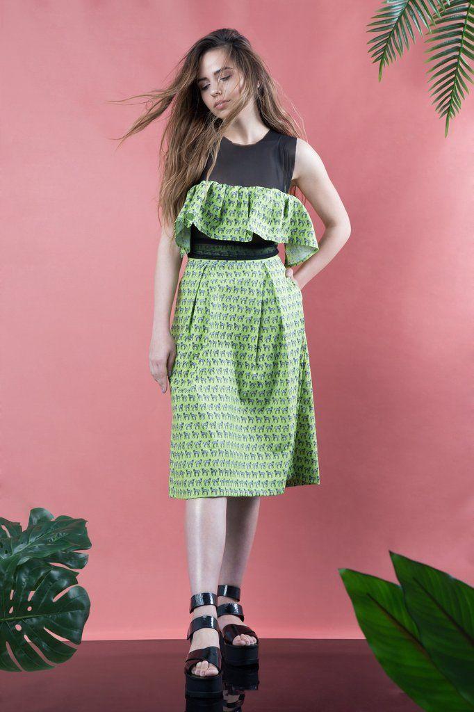 Green Zebras Pleated Skirt