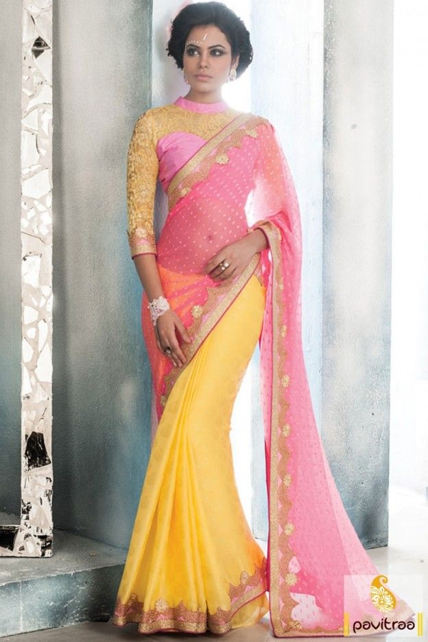 Latest designer saree for new year party 2016 in discounted price. This glamorous wedding saree gives you royal touch in every special occasion. Buy this party wear saree now. #saree, #designersaree more: http://www.pavitraa.in/store/designer-collection/