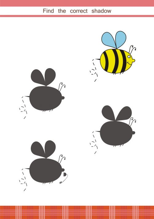 Help your child develop their critical thinking skills with this free printable activity sheet. Students must find the shadow that matches the bee. When they have found the answer, have your child tell you what is the same.  #braingames, #logic, #games, #printable