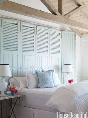 shutter headboard, great idea for upcycling old shutters! #bedroom #bedroomfurniture