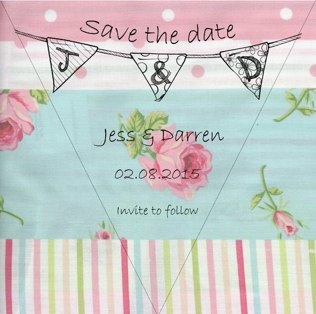 Sisters save the date - bunting theme
