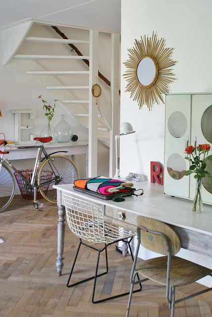 by wood & wool stool   floor   mirror   chairs   details
