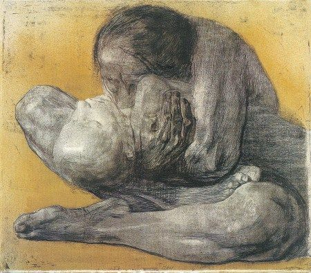 Woman with Dead Child, Käthe Kollwitz, 1903, etching. Kollwitz lost a son in WWI and a grandson in WWII. Her work became overwhelmingly about the savage waste of war, as seen through a mother's heart.