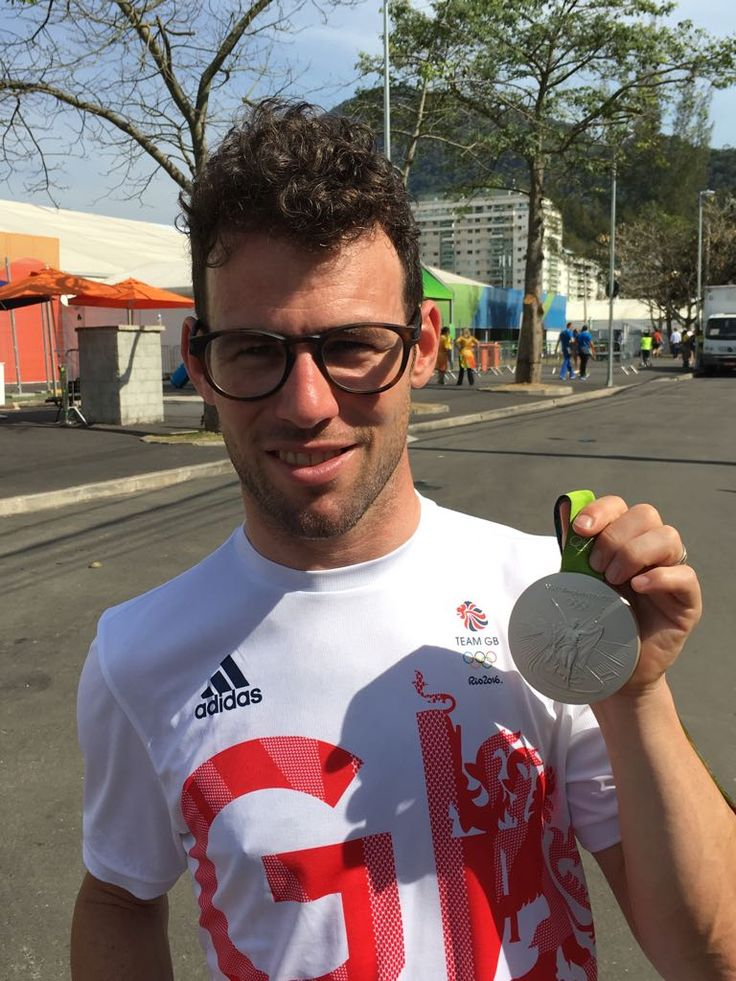 08.16.16 Cyclist Mark Cavendish (GB) shows off his silver medal in track. #Rio2016