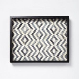 Present your gourmet goodies on this Herringbone Tray featuring hand-inlaid bone tiles set in a bold pattern. For parties or part of your decor, this tray adds sophistication to coffee tables and consoles. $119  westelm.com