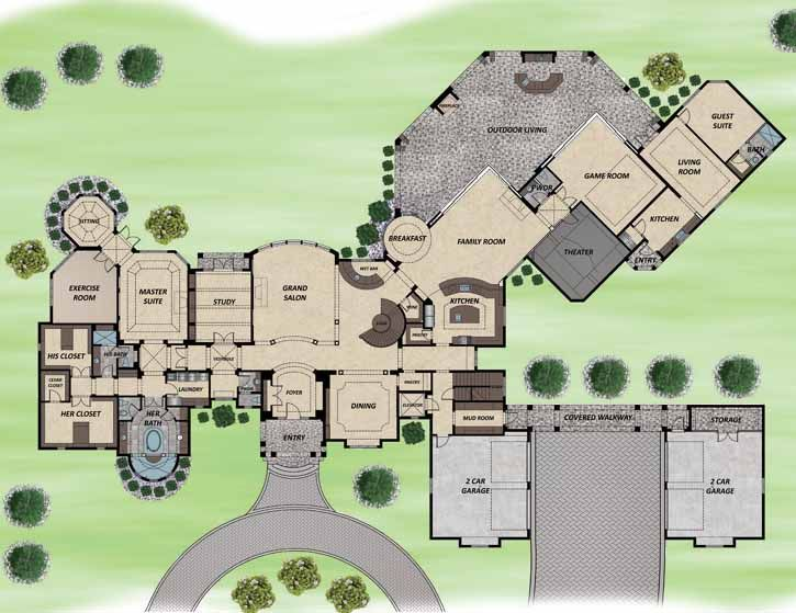 European Style House Plans - 12856 Square Foot Home, 2 Story, 6 Bedroom and 6 3 Bath, 4 Garage Stalls by Monster House Plans - Plan 82-114