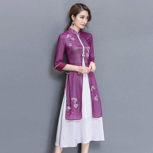 Improved Daily Three Quarter Sleeve Was Thin Vietnam Embroidered Cheongsam Split The Fork Fake Two Pieces Stand Neck Dress
